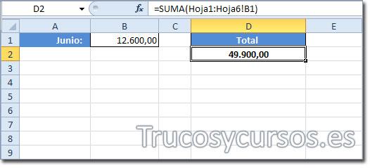 Hoja Excel con celda D2 presentando la suma de todas las hojas