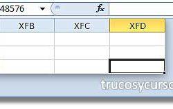 Celda XFD1048576 y última de la hoja de Excel