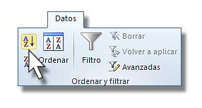 Regla de Ordenación Excel: Grupo ordenar y filtrar de la cinta de opciones.