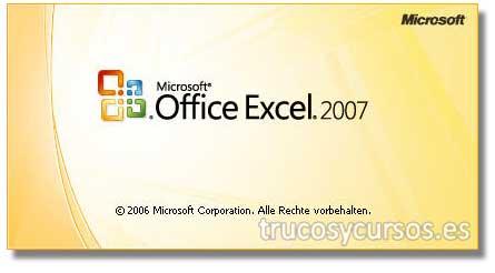 Error en Excel 2007: Pantalla de bienvenida de Microsoft Excel 2007.