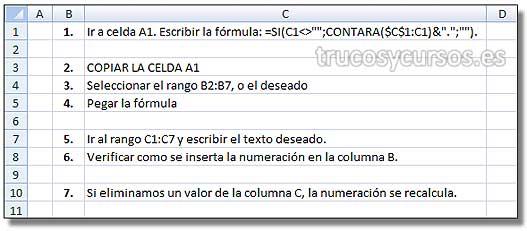 Crear numeración en las celdas Excel: Numeración aplicada en el rango B1:B10.