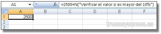 Anotación en una celda Excel: Barra de fórmulas mostrando comentario.