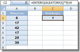 Lotería Primitiva y BonoLoto con Excel: Celda C2 con valor aleatorio generado.