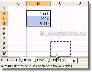 Mover un rango entre hojas del libro Excel: Barra de hojas mostrando el desplazamiento sobre la hoja deseada donde insertar datos.