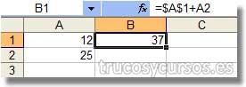 Referencia Absoluta en Excel: Celda B1 con referencia absoluta en A1 ($A$1)