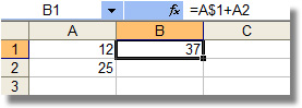 Celda B1 con referencia mixta en A1 (A$1)