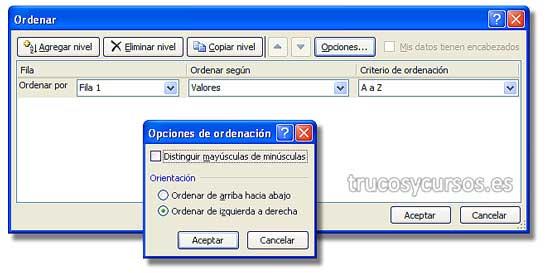 Ordenar datos en filas Excel: Cuadro de diálogo de ordenar y opciones de ordenación.