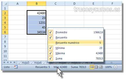 Cálculo En Barra De Estado Excel Trucos Y Cursos De Excel