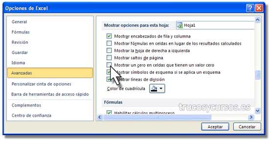 Ocultar los ceros en Excel: Cuadro de diálogo de opciones Excel, deshabilitada la opción de mostrar cero.