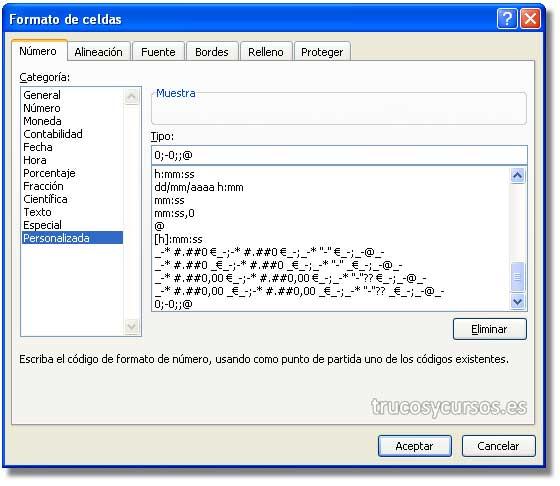 Ocultar los ceros en Excel: Cuadro de diálogo de formato celdas personalizado con 0;-0;;@