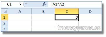 Ocultar los ceros en Excel: Celda C1 con valor cero; A1 y A2 sin valor escrito.