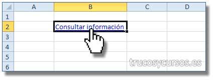 Enlazar una celda a una Web en Excel: Celda B2 con hipervínculo que abrirá el navegador en el sitio web.