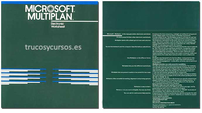 Microsoft Multiplan, publicado en 1982 para MS-DOS