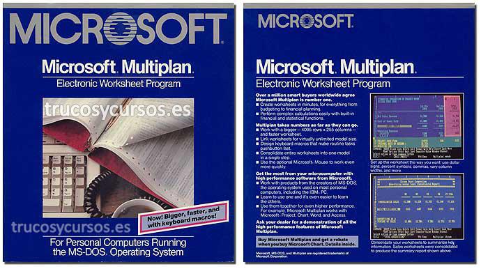 Microsoft Multiplan v2.0, publicado en 1985 para MS-DOS