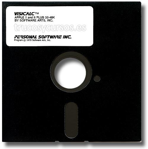 Origen de la hoja de cálculo: Disquete (5,25 pulgadas) de distribución del programa VISICALC de Software Art Inc