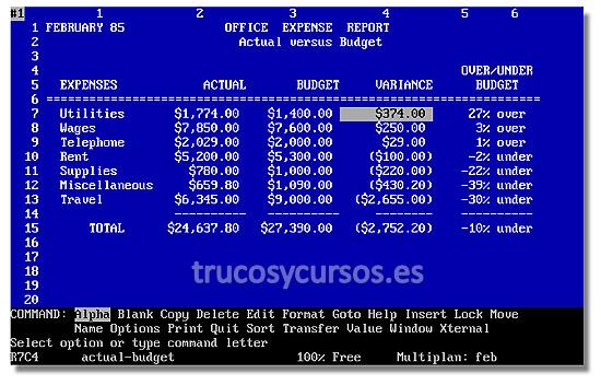 Antecedentes de Microsoft Excel: Pantalla del programa Multiplan.
