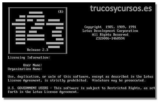 Antecedentes de Microsoft Excel: Pantalla del programa Lotus 1, 2, 3 de Lotus Development Corporation