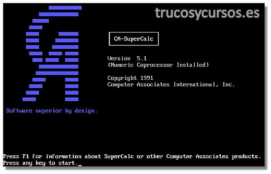 Antecedentes de Microsoft Excel: Pantalla del programa SUPERCALC de Computer Associates International, Inc
