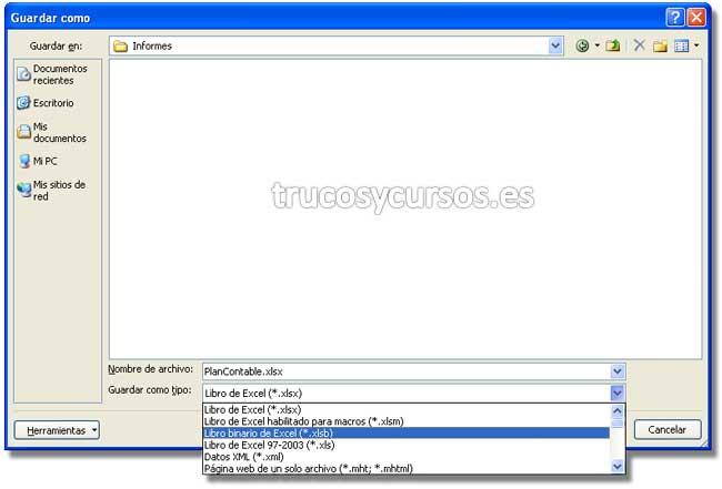 Libros de gran tamaño xlsb en Excel: Cuadro de diálogo guardar como: Para extensión .xlsb