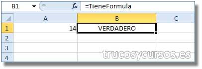 Evaluar si una celda tiene Fórmula en Excel: Hoja Excel con la función TieneFormula en B1 que identifica la celda A1.