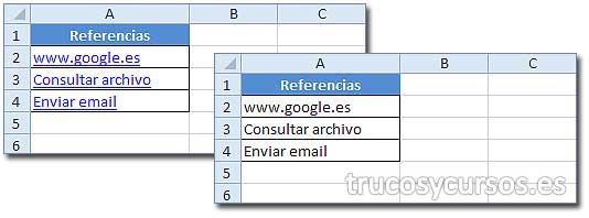 Eliminar todos los hipervínculos de una hoja Excel: Rango A2:A4 con hipervínculos y sin ellos.
