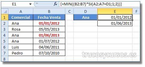 Fecha más antigua y más reciente  en Excel por un criterio: Rango de datos A1:B7, D1 nombre del delegado, E1 fecha menor y E2 fecha mayor