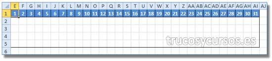 Rango E1:AI1, que muestra el día del mes de la tarea