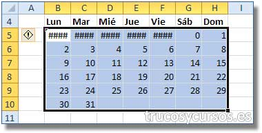 Calendario con fórmula matricial en Excel: Rango B6:H10 con fórmula matricial de los días de la semana