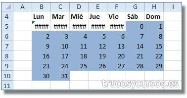 Calendario con fórmula matricial en Excel: Rango B5:H10 con formato condicional