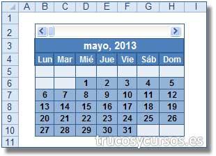 Calendario con fórmula matricial en Excel: Resultado del calendario mensual