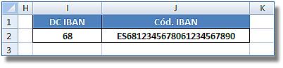 Dígito de Control de la entidad bancaria en Excel: Celda I2, DC del IBAN y J2, código completo del IBAN