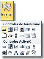Asignar una macro a un botón en Excel: Botón insertar, mostrando los controles disponibles
