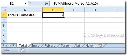 Referencia 3D en Excel: Libro Excel con hoja Total y fórmula en celda B1 =SUMA(Enero:Marzo!A1:A10).