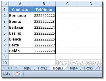 BUSCARV en varias hojas Excel: Hoja3 con contacto y teléfono (Columna A y B).