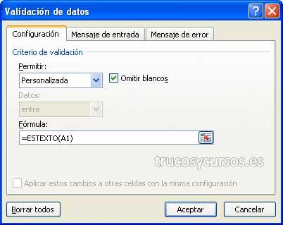 Insertar sólo texto en celda Excel: Ventana de validación de datos con fórmula =ESTEXTO(A1).