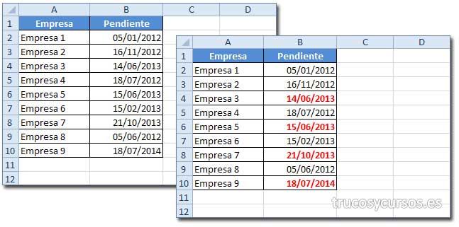 Verifica una fecha mayor de la fecha actual en Excel: Hoja con fechas remarcadas mayor a hoy