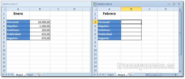 Trabajar con dos hojas Excel a la vez: Vista del libro Gastos.xlsx:1 con nueva ventana Gastos.xlsx:2