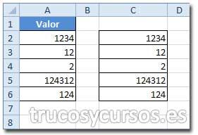 Repetir columnas con función: Rango C2:C6 repetido de A2:A6.
