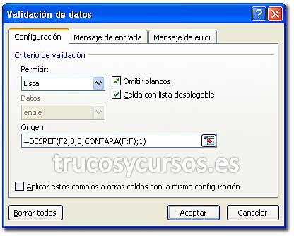 Lista con rango dinámico en Excel: Ventana Validación de datos con tipo lista y orígen como =DESREF(F2;0;0;CONTARA(F:F);1)