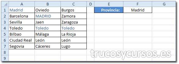 Valor existente en un rango de Excel: Rango de búsqueda A1:C7 y valor repetido en F1.