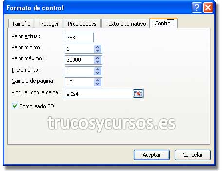 Simulador de Préstamo: Ventana de formato de control, con las propiedades de barra de desplazamiento.