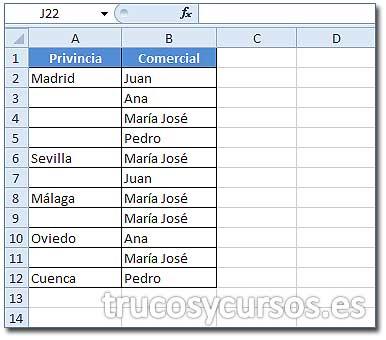 Duplicar valores repetidos en Excel: Columna A con datos de provincia y columna B con el nombre del comercial.
