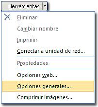 Copia de seguridad de un libro: Botón de herramientas, mostrando opciones generales.