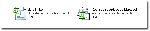 Copia de seguridad de un libro Excel: Archivo original y archivo de copia de seguridad.