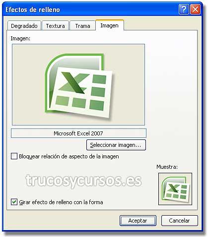 Pase de imagen en Excel: Cuadro de diálogo de efectos de relleno con imagen seleccionada.