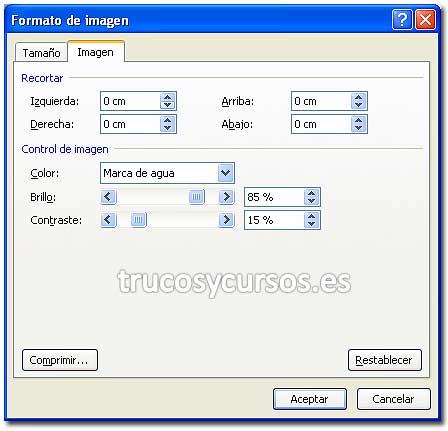 Logotipo en las hojas Excel: Cuadro de diálogo de formato de imagen, con las opciones de control de imagen.