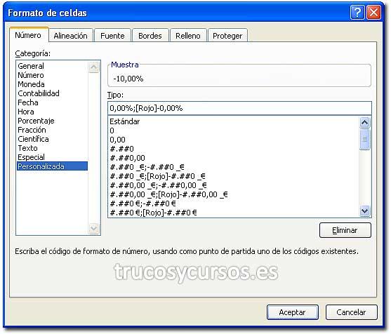 Formato de porcentaje Excel: Cuadro de diálogo de formato de celda, número personalizado.