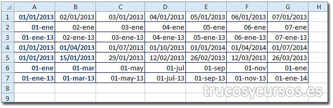 Hoja Excel con diferentes rellenos de días.