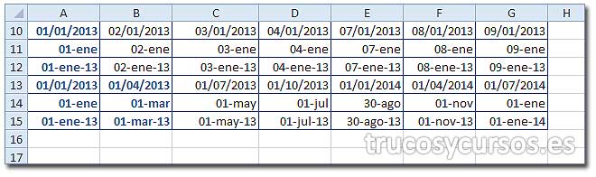 Hoja Excel con diferentes rellenos de días de semana.