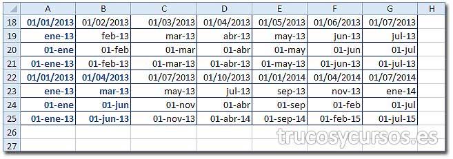Hoja Excel con diferentes rellenos de meses.